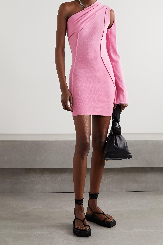 Rick Owens Athena one-sleeve cutout stretch-knit mini dress