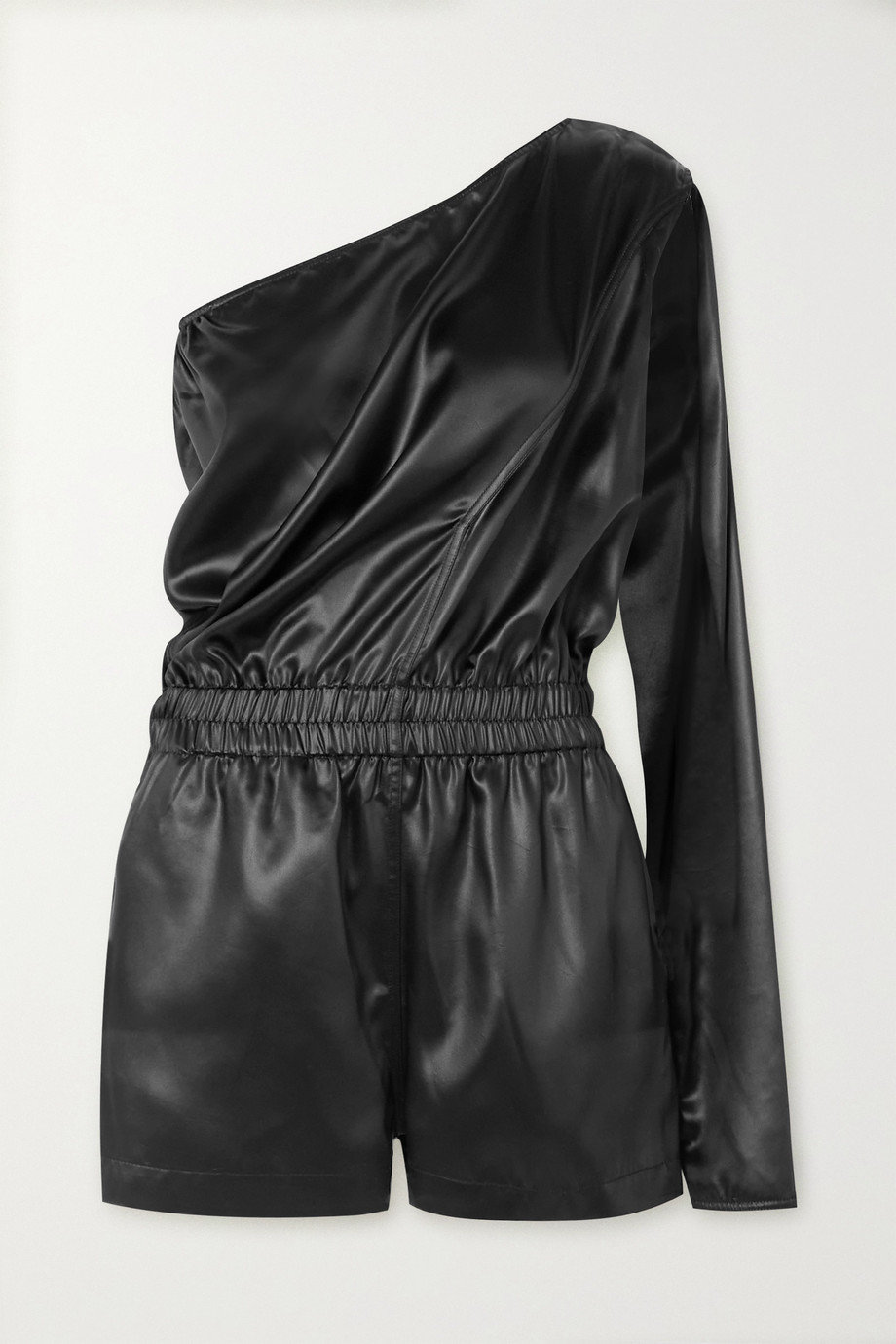Rick Owens Convertible one-sleeve satin playsuit
