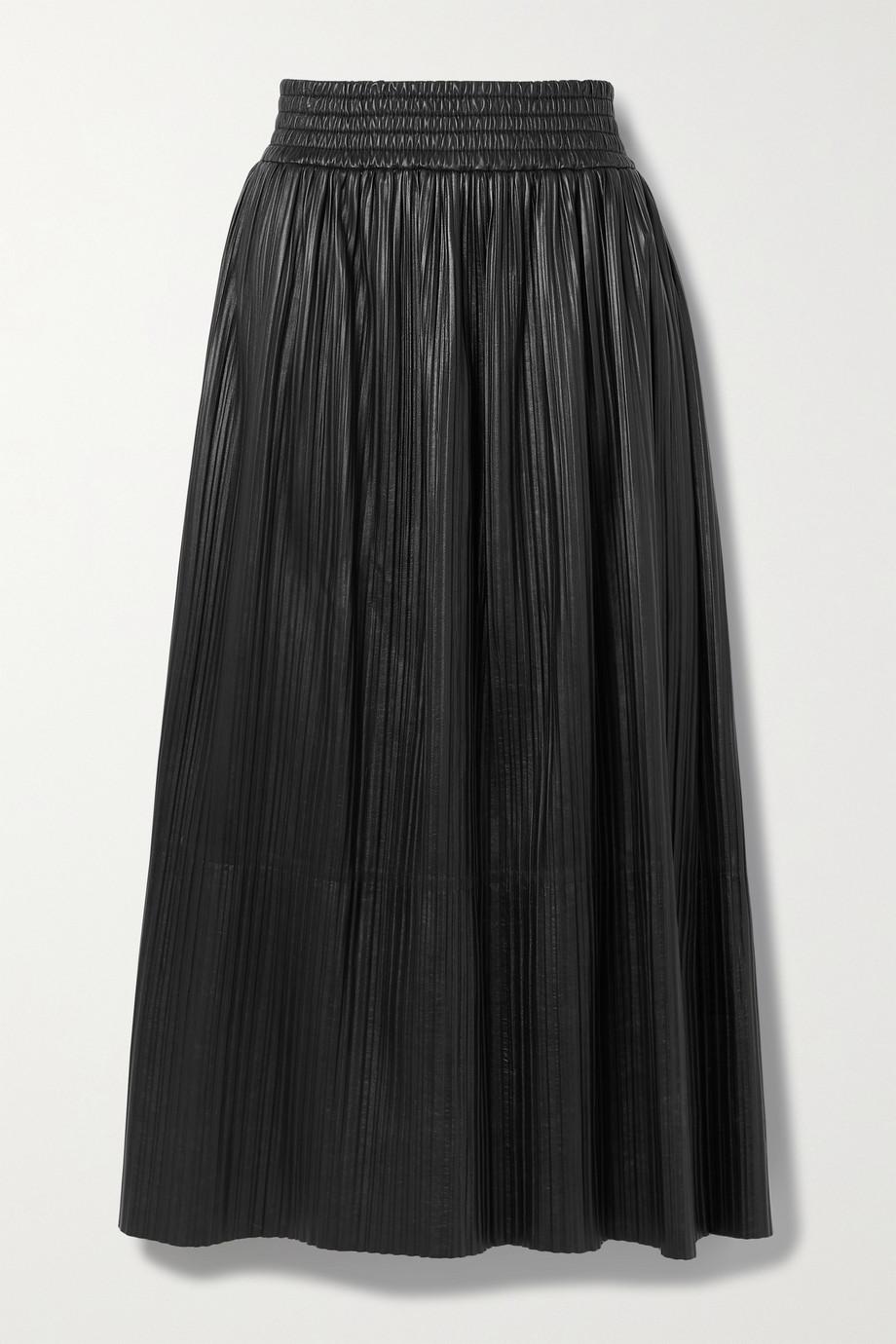 Gabriela Hearst + NET SUSTAIN Dakota pleated leather midi skirt