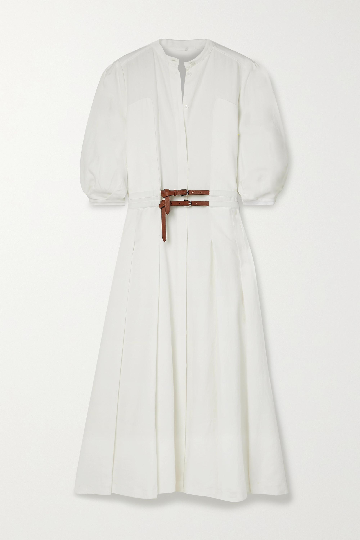 Gabriela Hearst Lewis Midi-Hemdblusenkleid aus Leinen mit Falten und Gürtel