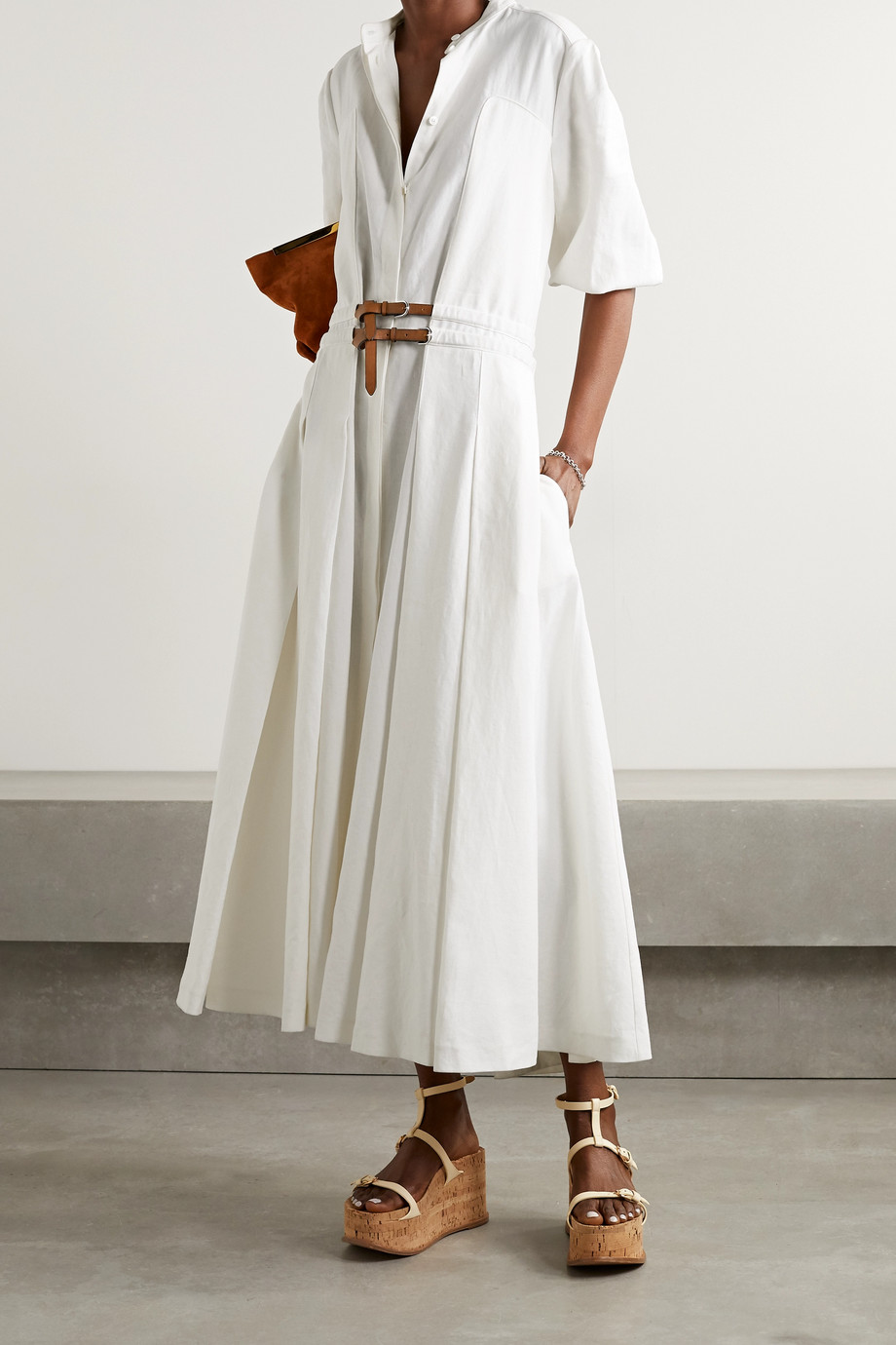 Gabriela Hearst Lewis belted pleated linen midi shirt dress