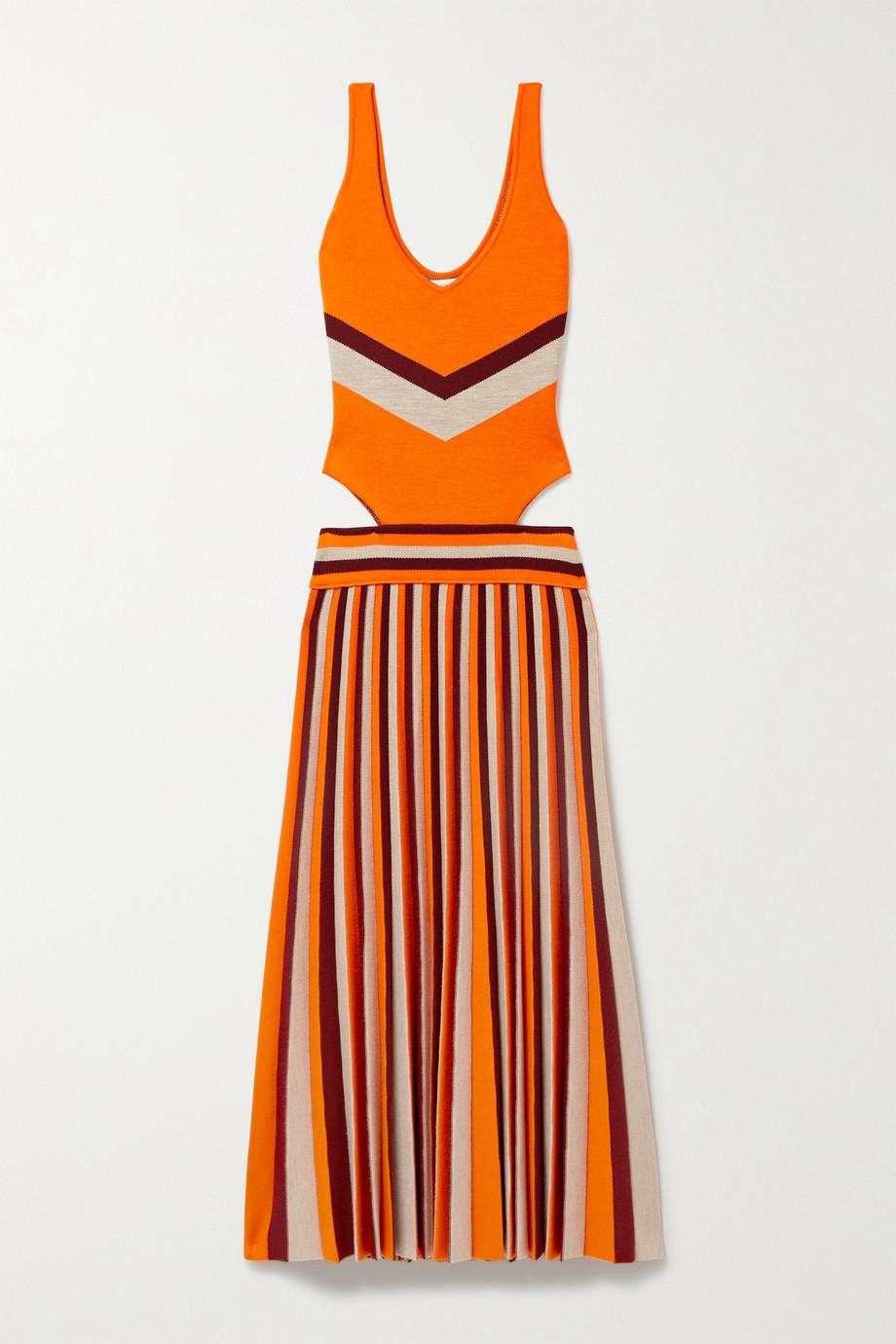 Gabriela Hearst Robe midi en laine mélangée à plis, à rayures et à découpes