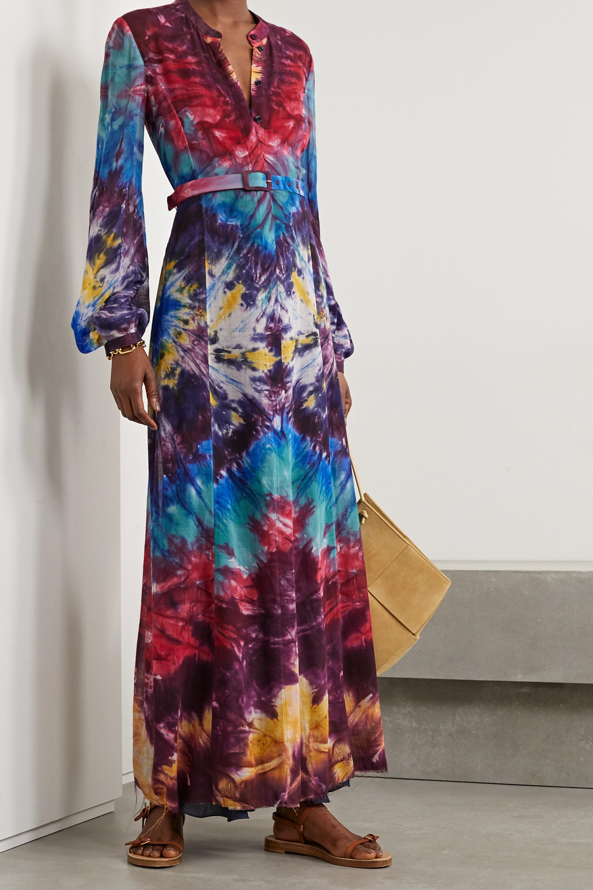 Gabriela Hearst Massey Maxi-Hemdblusenkleid aus Kaschmir mit Batikmuster