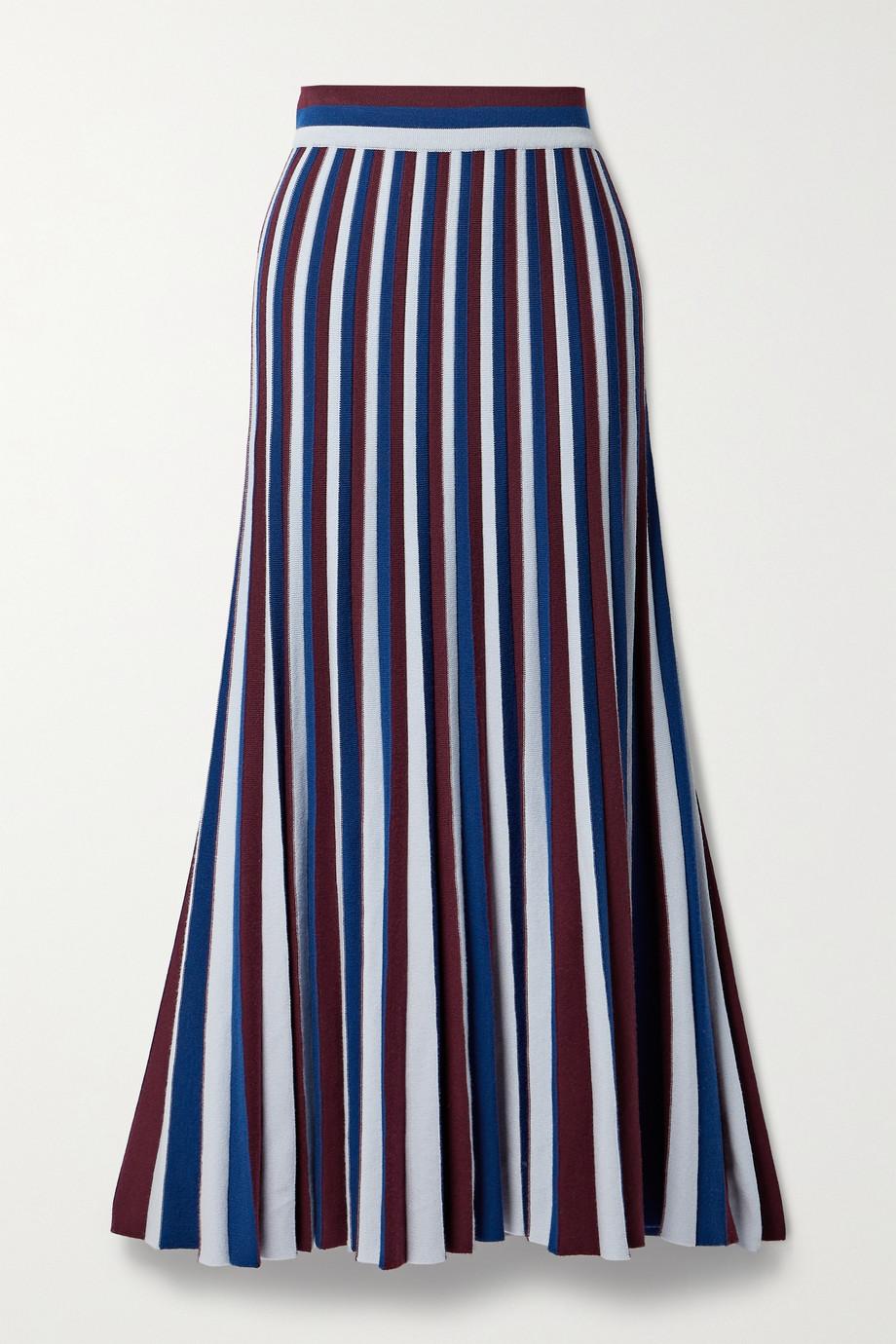 Gabriela Hearst Pleated striped merino wool maxi skirt