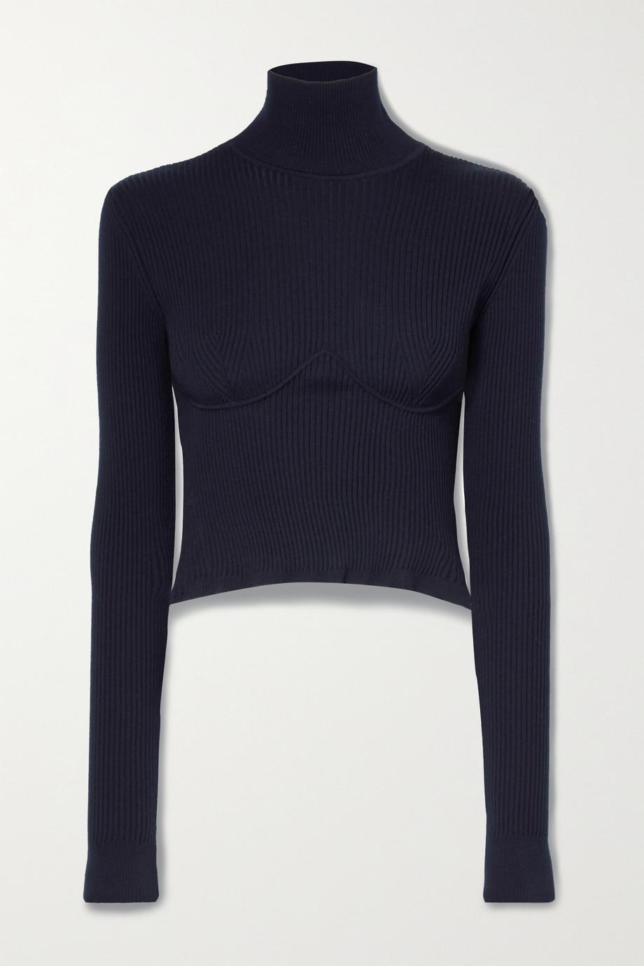 Gabriela Hearst Russel cropped ribbed merino wool turtleneck sweater
