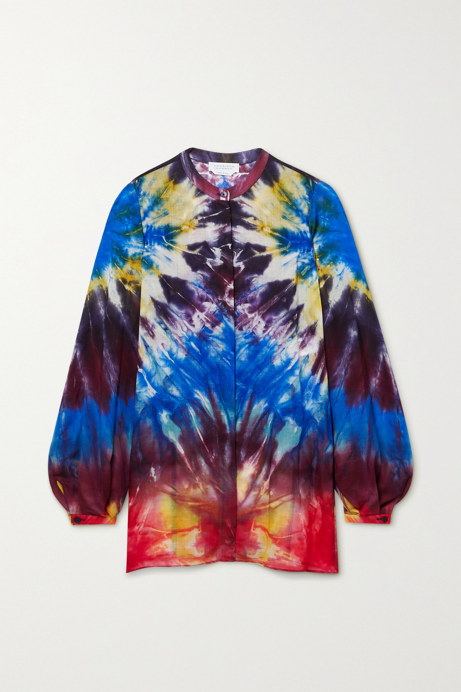 Gabriela Hearst Nicola belted tie-dyed cashmere blouse