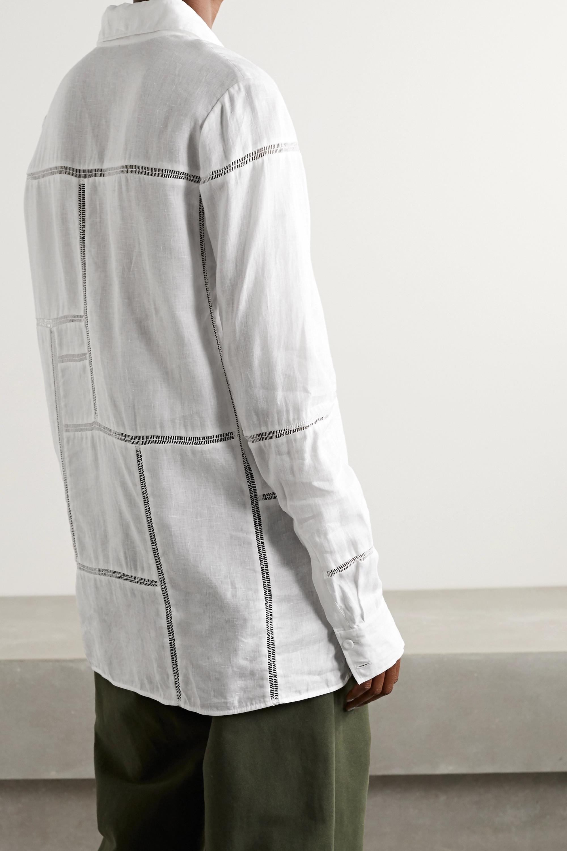 Gabriela Hearst Taj crochet-trimmed linen shirt