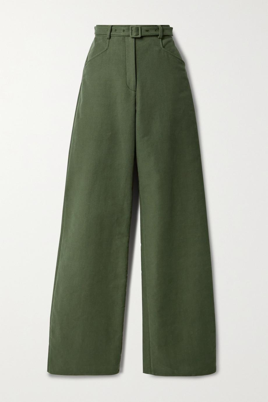 Gabriela Hearst Norman belted linen-blend canvas wide-leg pants