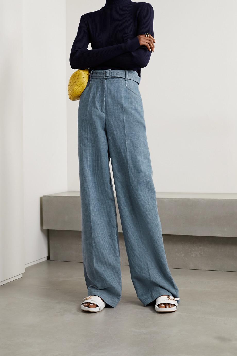Gabriela Hearst Norman belted linen and cotton-blend corduroy wide-leg pants