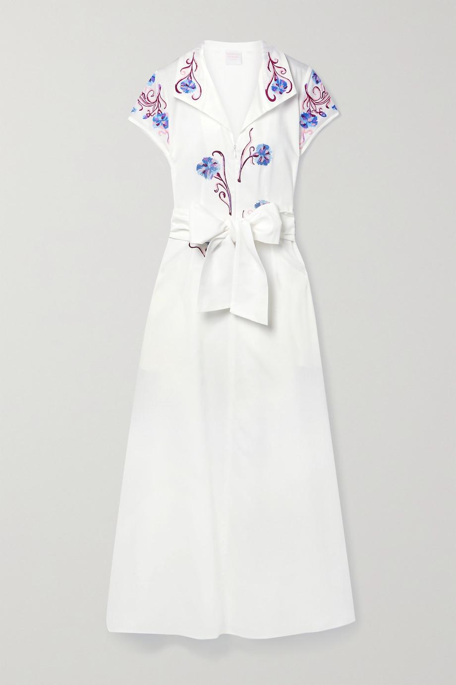 Loretta Caponi Adriana belted embroidered cotton maxi dress