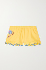 Loretta Caponi Silvia scalloped embroidered cotton-piqué shorts