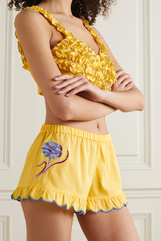 Loretta Caponi Silvia scalloped embroidered cotton-piqué shorts