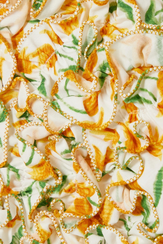 Loretta Caponi Nora ruffled floral-print cotton-voile top