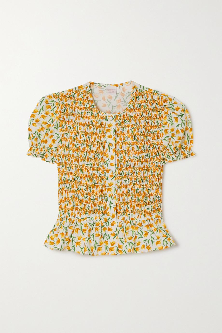 Loretta Caponi Francesca smocked floral-print cotton-voile blouse