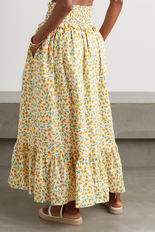 Loretta Caponi Amira ruffled floral-print cotton-voile maxi skirt