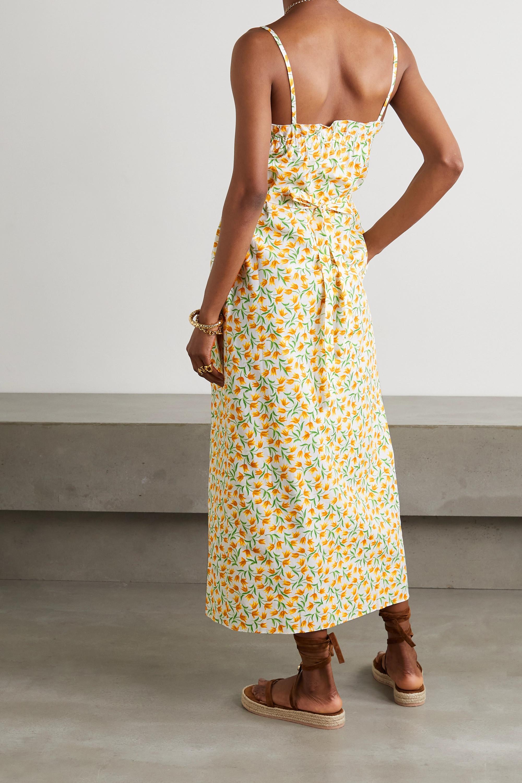 Loretta Caponi Bianca ruffled smocked floral-print cotton-voile midi dress
