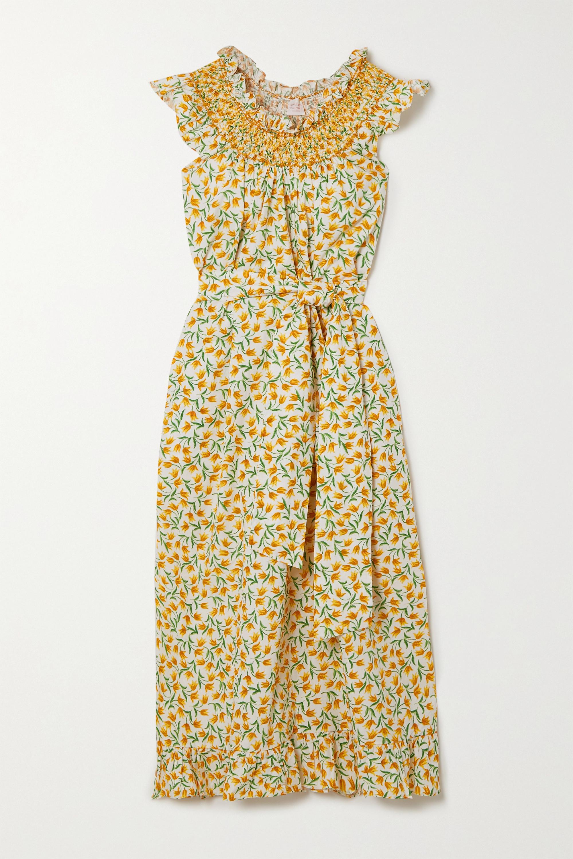 Loretta Caponi Delfina Midikleid aus Baumwoll-Voile mit Blumenprint, Rüschen und Smokarbeit