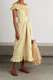 Loretta Caponi Delfina belted ruffled smocked floral-print cotton-voile midi dress