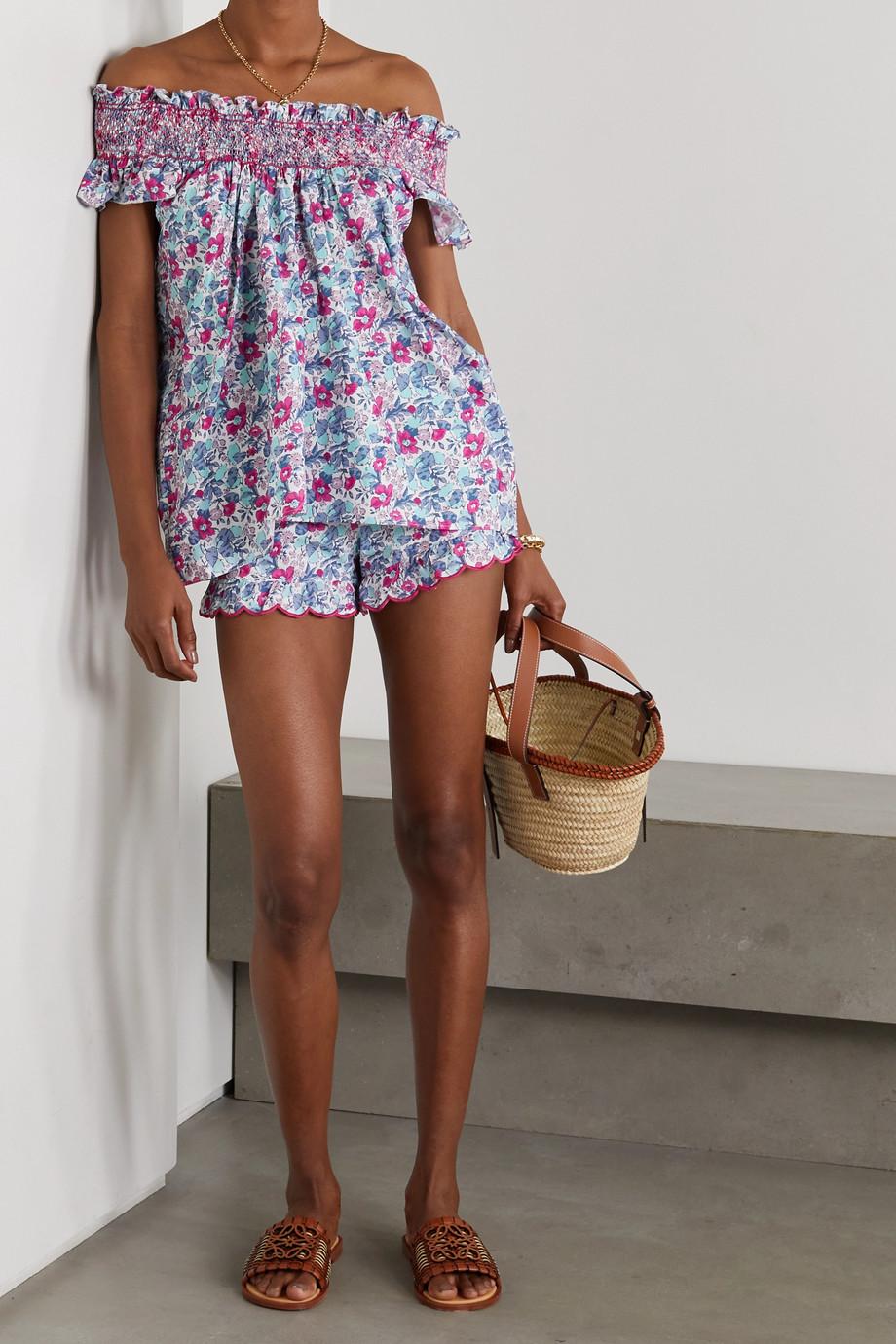 Loretta Caponi Silvia scalloped floral-print cotton-voile shorts