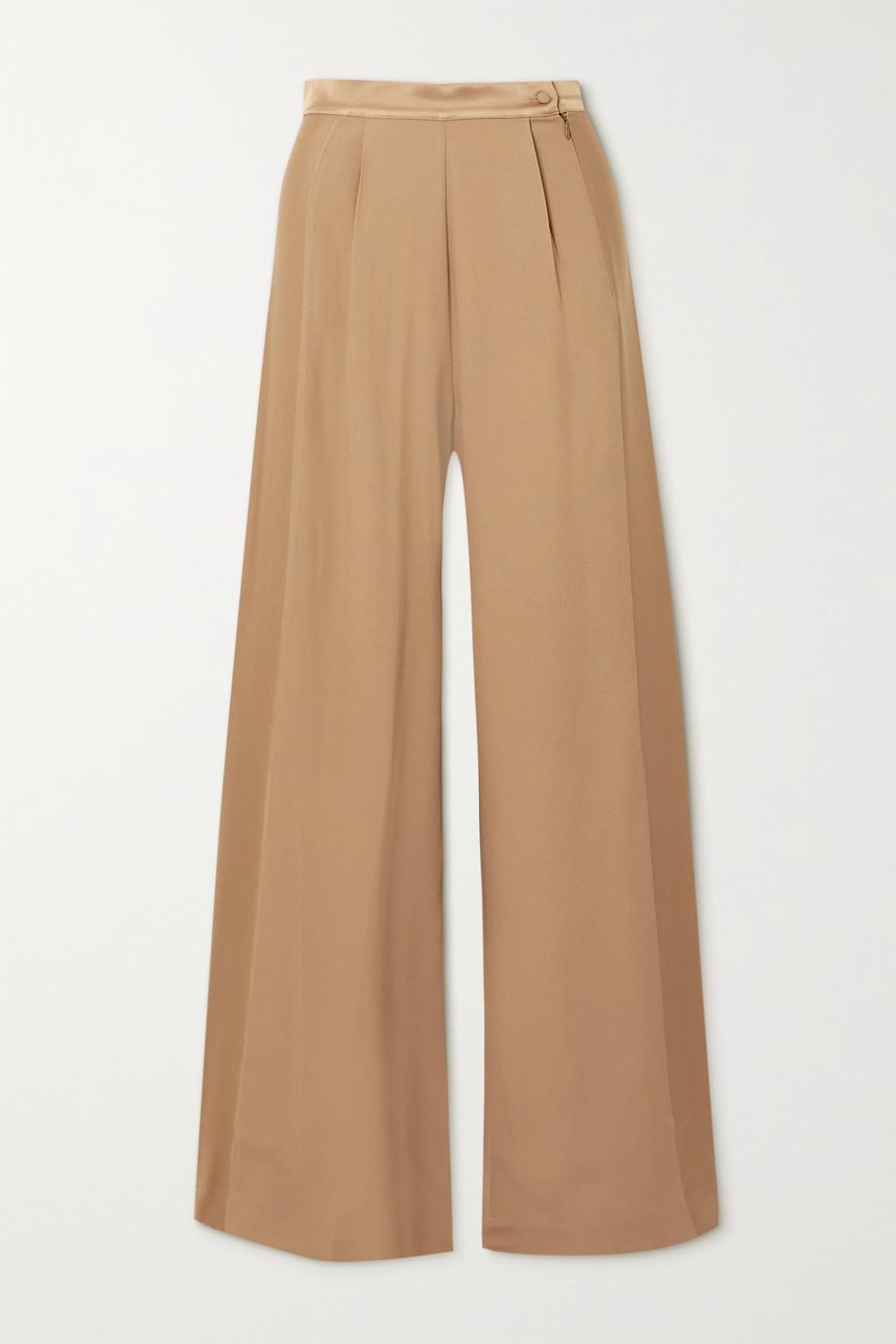 Taller Marmo Pantalon large en crêpe de soie mélangée à finitions en satin Palm Beach