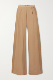 Taller Marmo Palm Beach satin-trimmed silk-blend crepe wide-leg pants