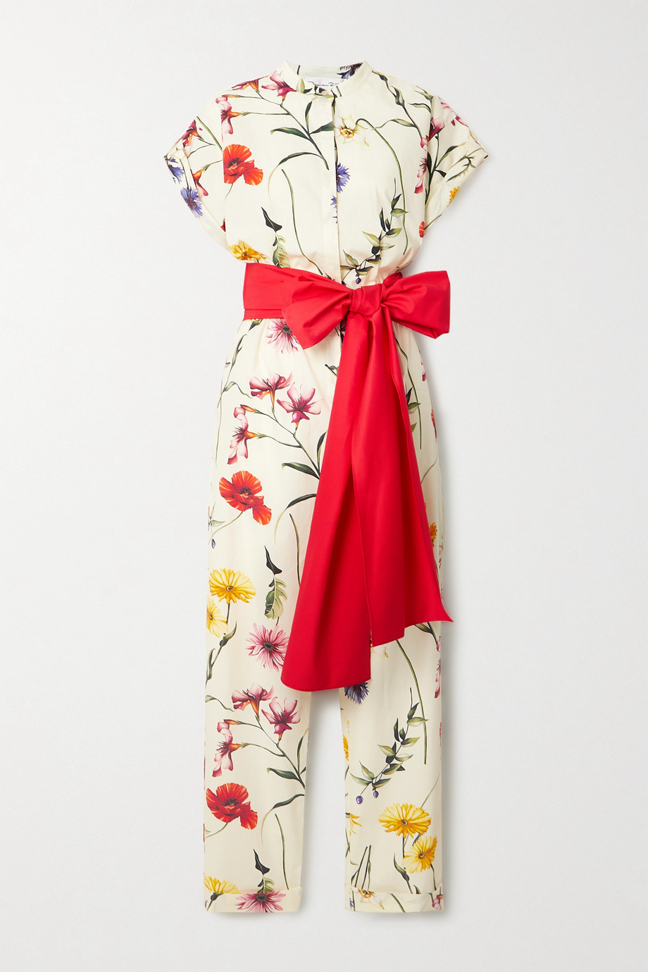 Oscar de la Renta Bow-detailed floral-print cotton-blend poplin jumpsuit
