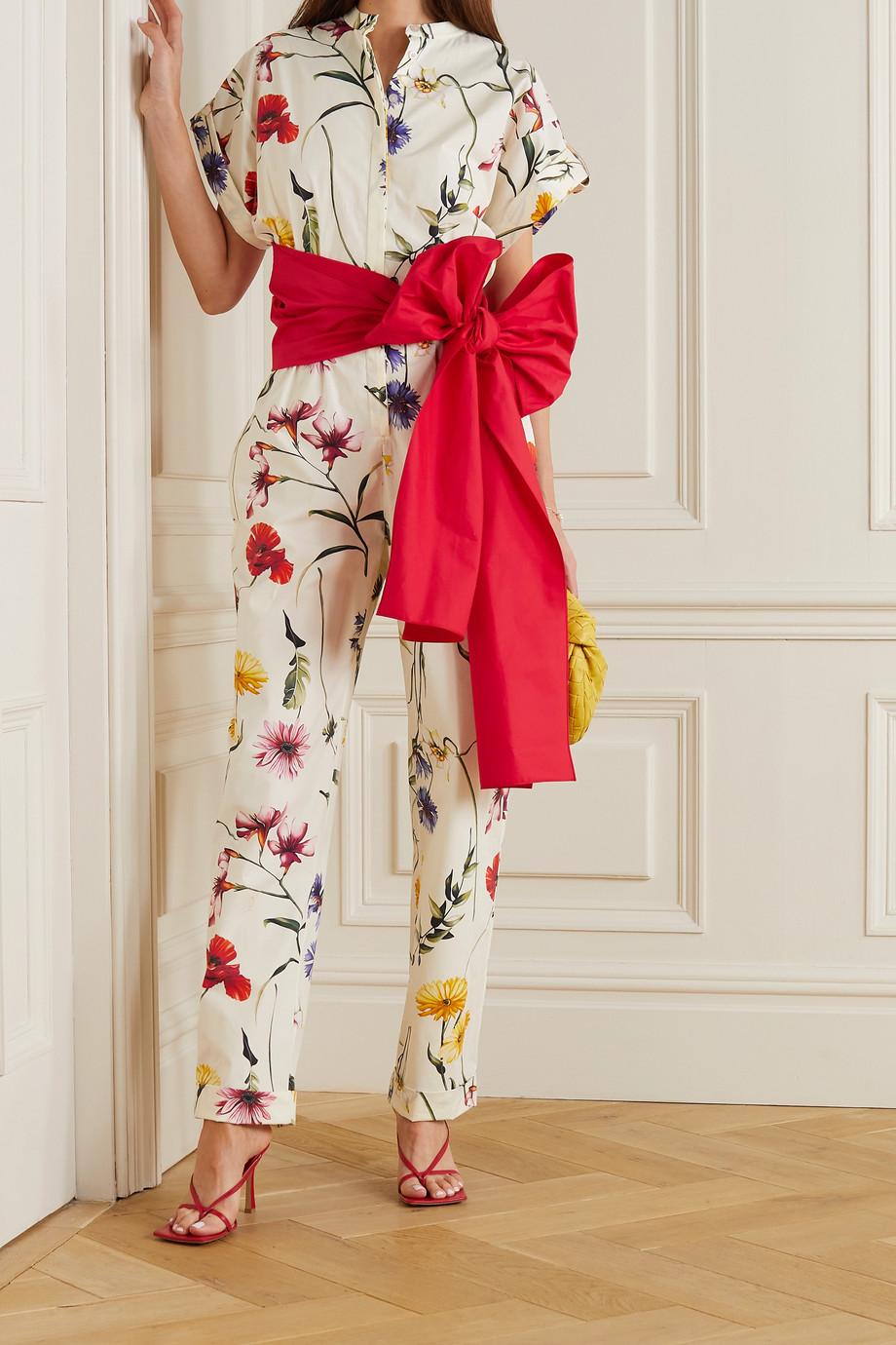 Oscar de la Renta Combi-pantalon en popeline de coton mélangé à imprimé fleuri et à nœud