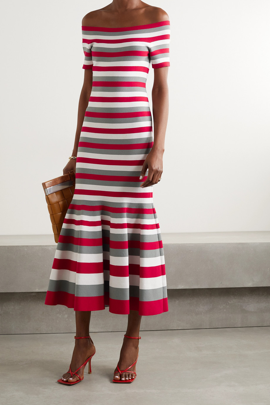 Oscar de la Renta Off-the-shoulder striped knitted midi dress