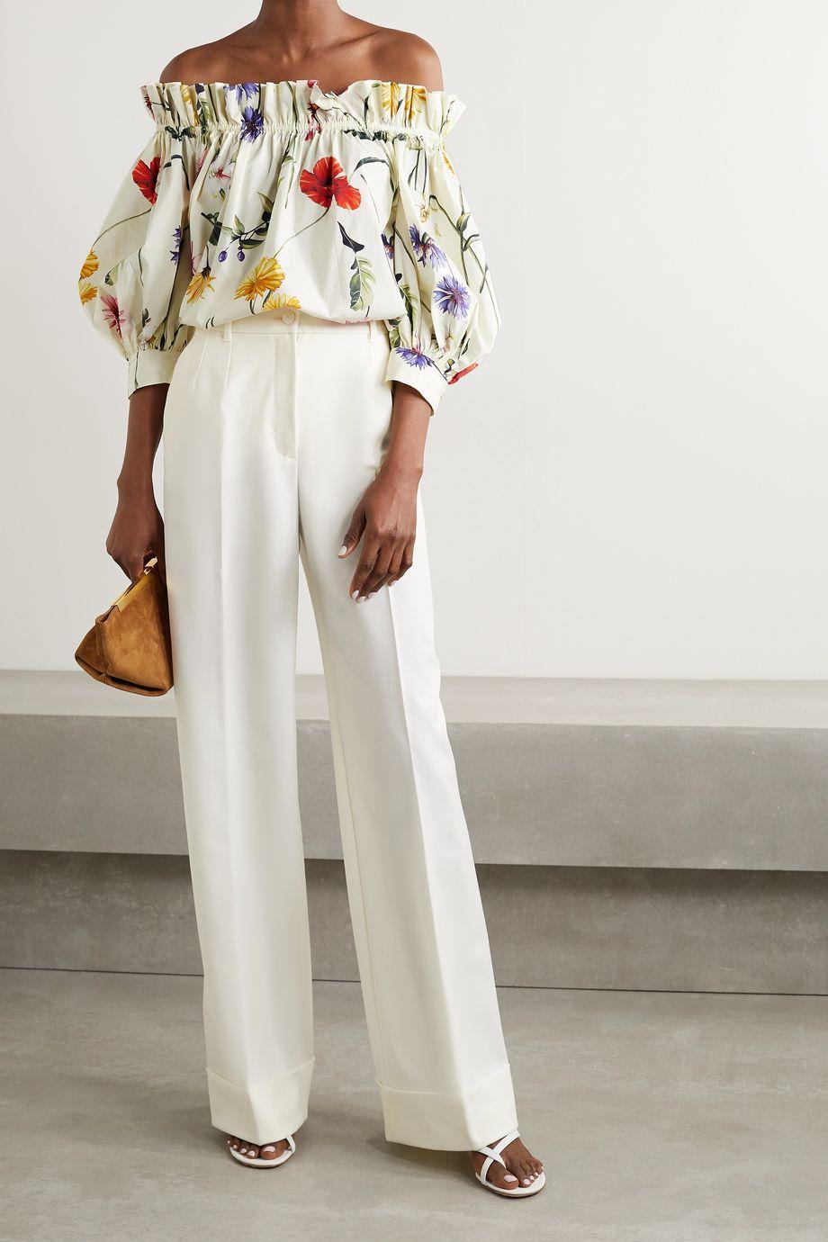 Oscar de la Renta Off-the-shoulder gathered floral-print cotton-blend poplin blouse