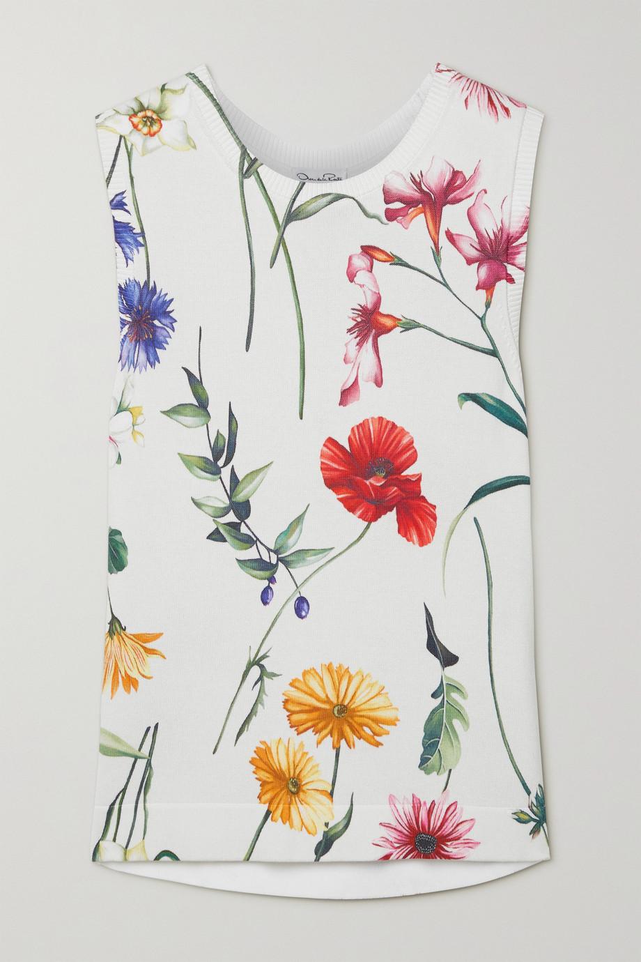 Oscar de la Renta Tanktop aus Strick mit Blumenprint