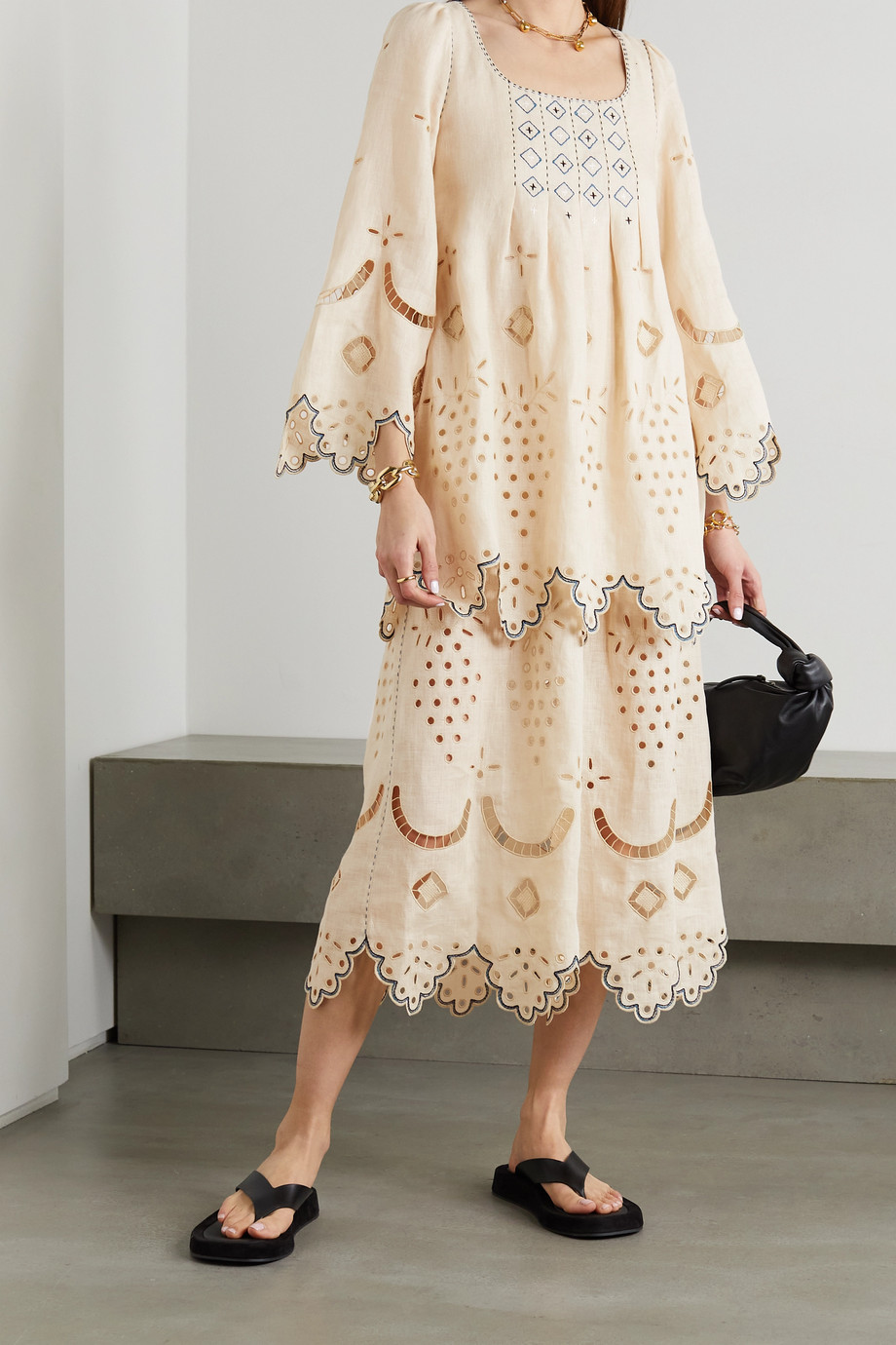 Vita Kin Florence embroidered broderie anglaise linen midi dress
