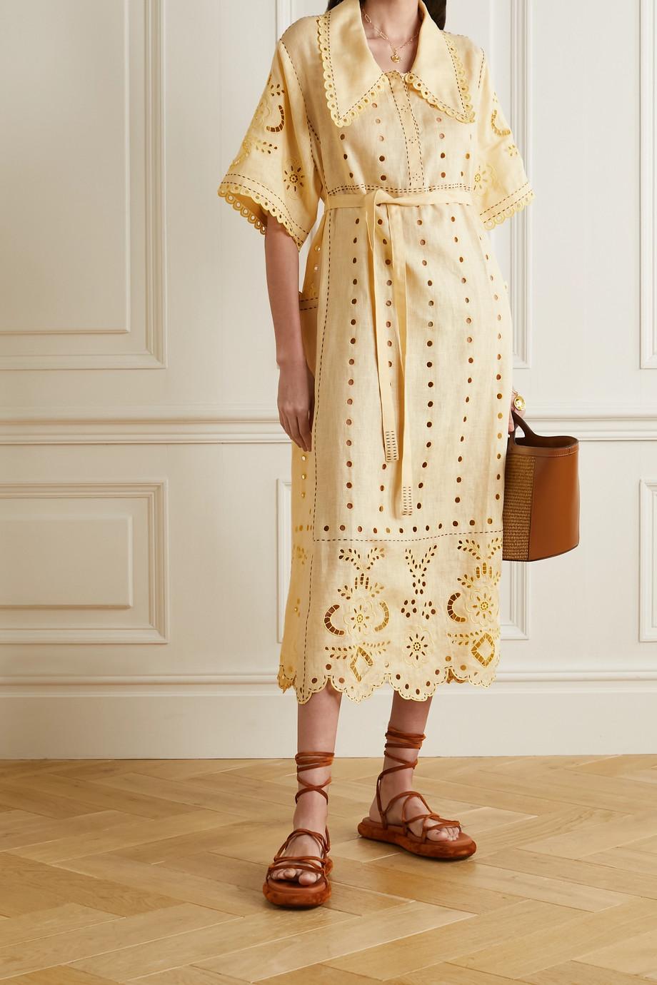 Vita Kin Charlotte belted broderie anglaise linen midi shirt dress