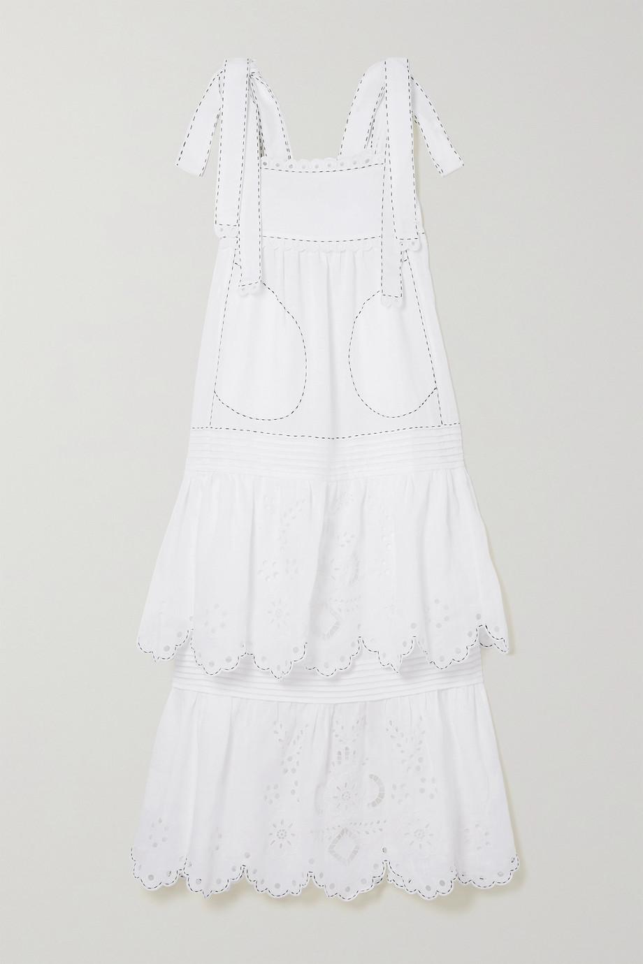 Vita Kin Charlotte tiered broderie anglaise linen midi dress