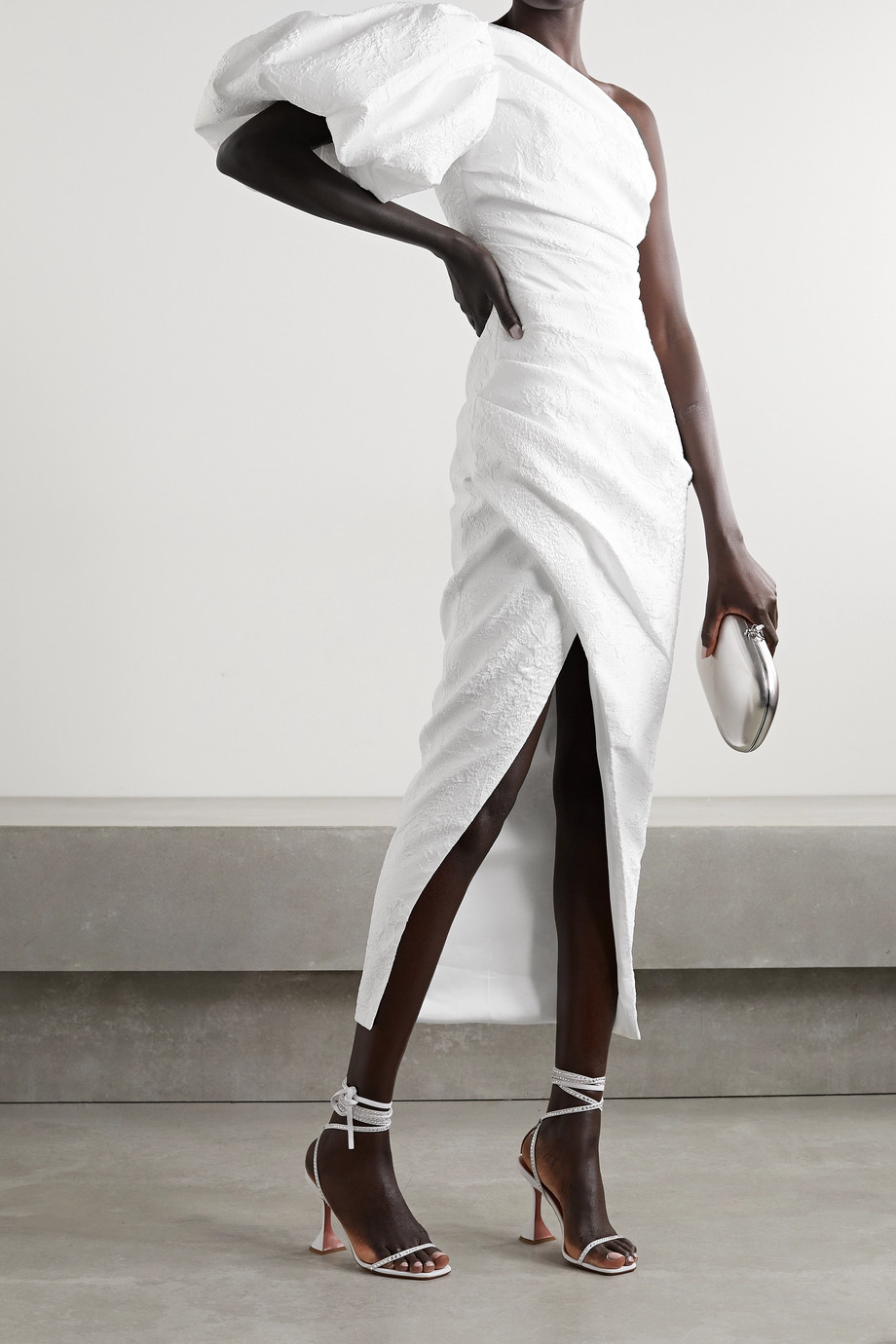 RASARIO One-sleeve gathered metallic jacquard midi dress