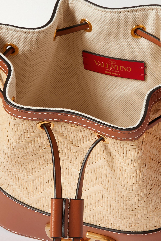 Valentino Sac seau en cuir et en raphia VSLING Small Valentino Garavani