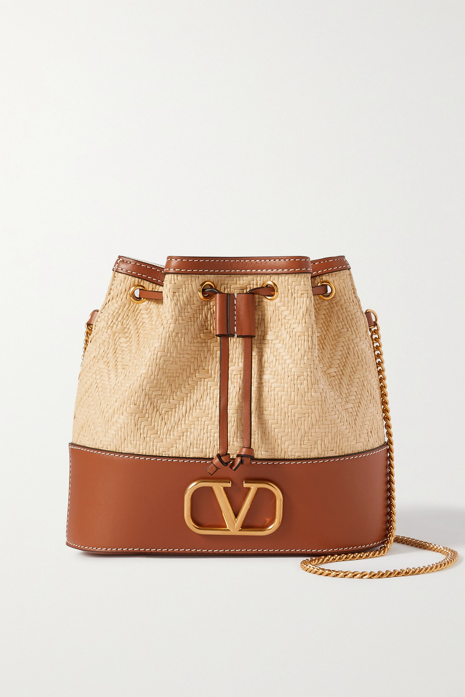 Valentino Valentino Garavani VSLING small leather and raffia bucket bag