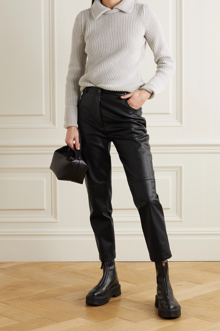 Stella McCartney + NET SUSTAIN Hailey vegetarian leather straight-leg pants
