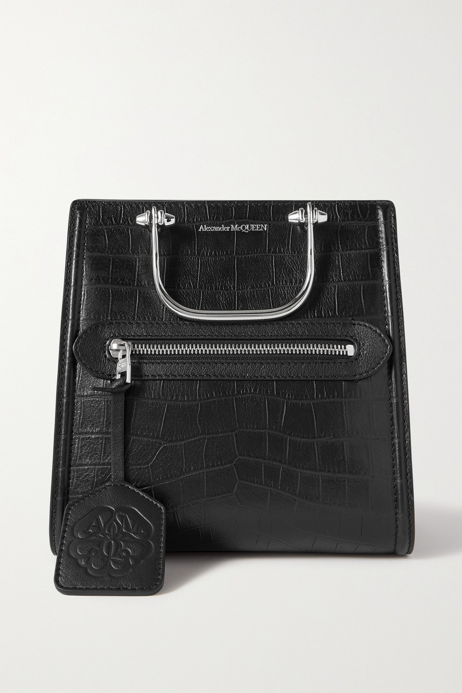 Alexander McQueen The Short Story small croc-effect leather tote