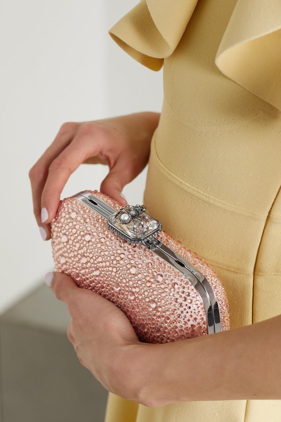 Alexander McQueen Spider Clutch aus Veloursleder mit Kunstperlen und Kristallen
