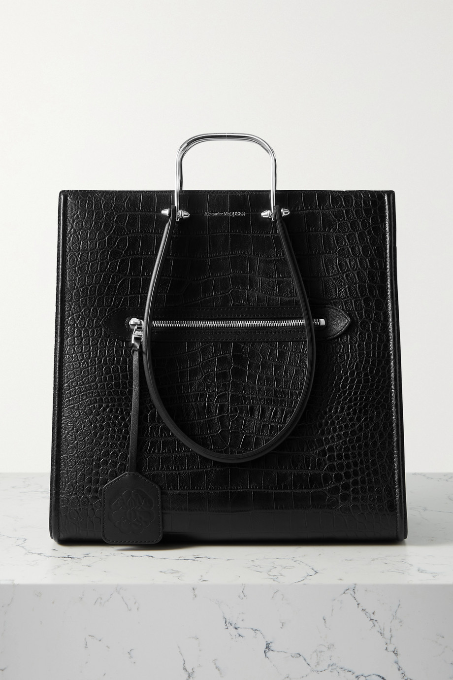Alexander McQueen The Tall Story large croc-effect leather tote