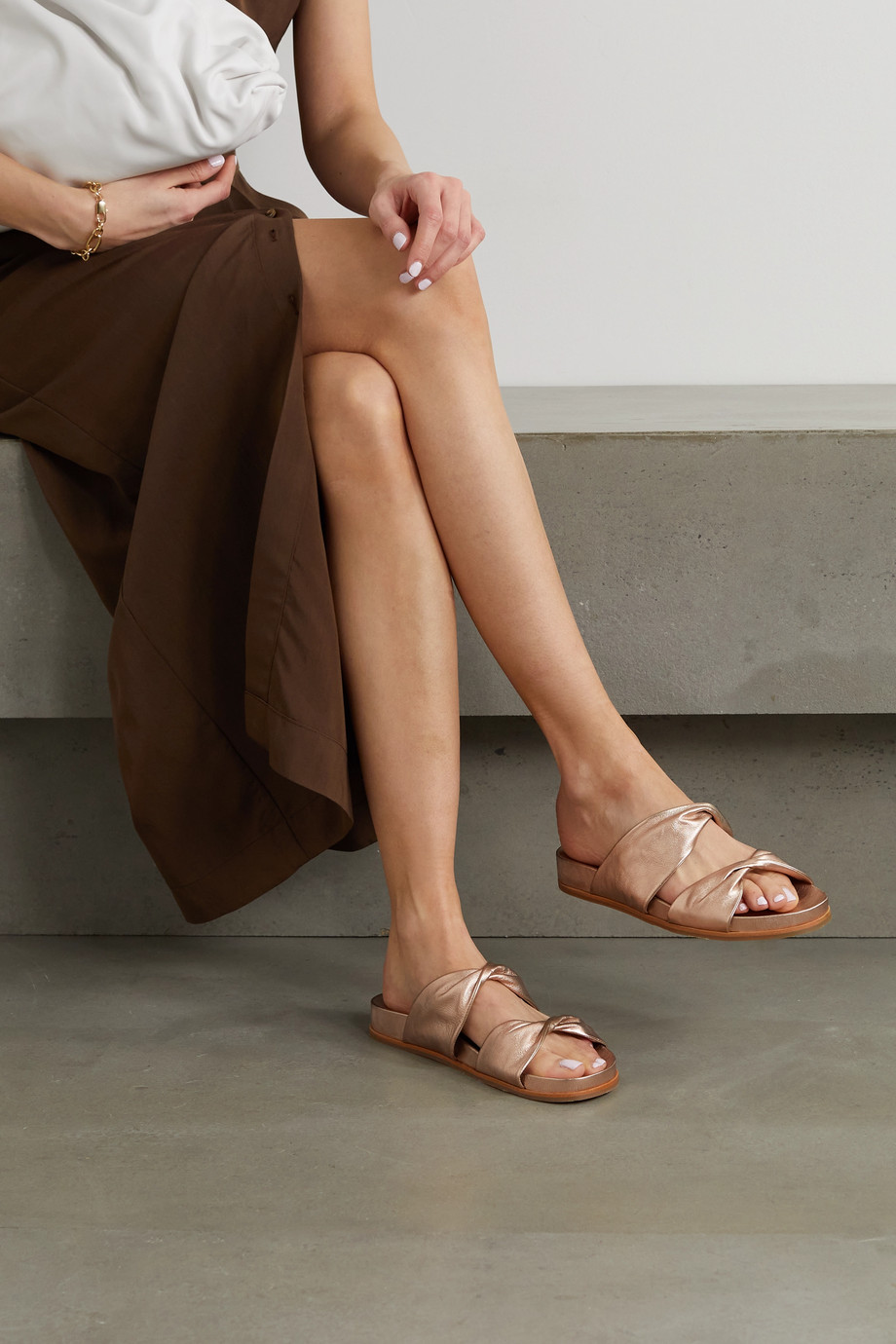 Aquazzura Twist metallic crinkled-leather sandals