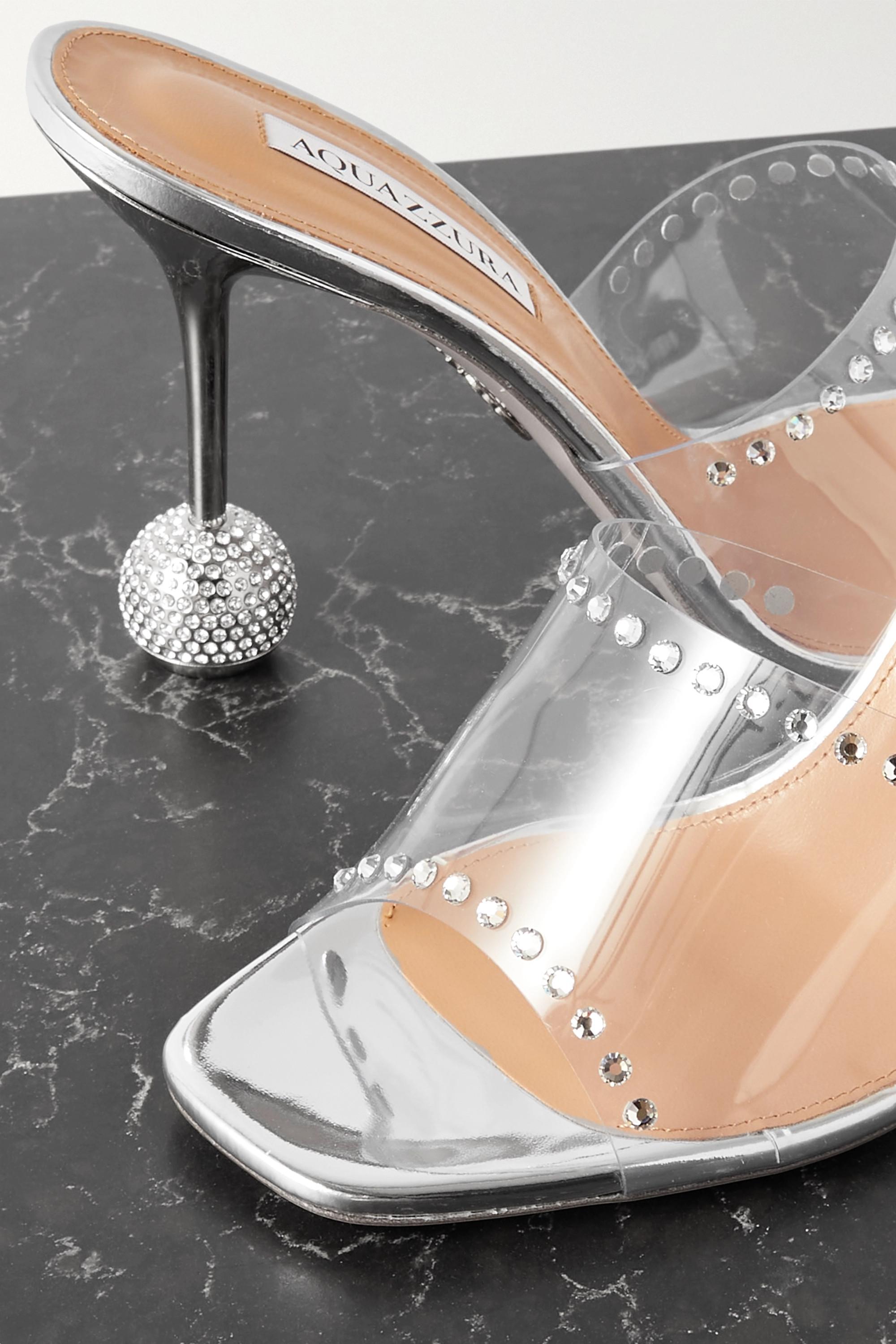 Aquazzura Secrets 95 crystal-embellished PVC mules
