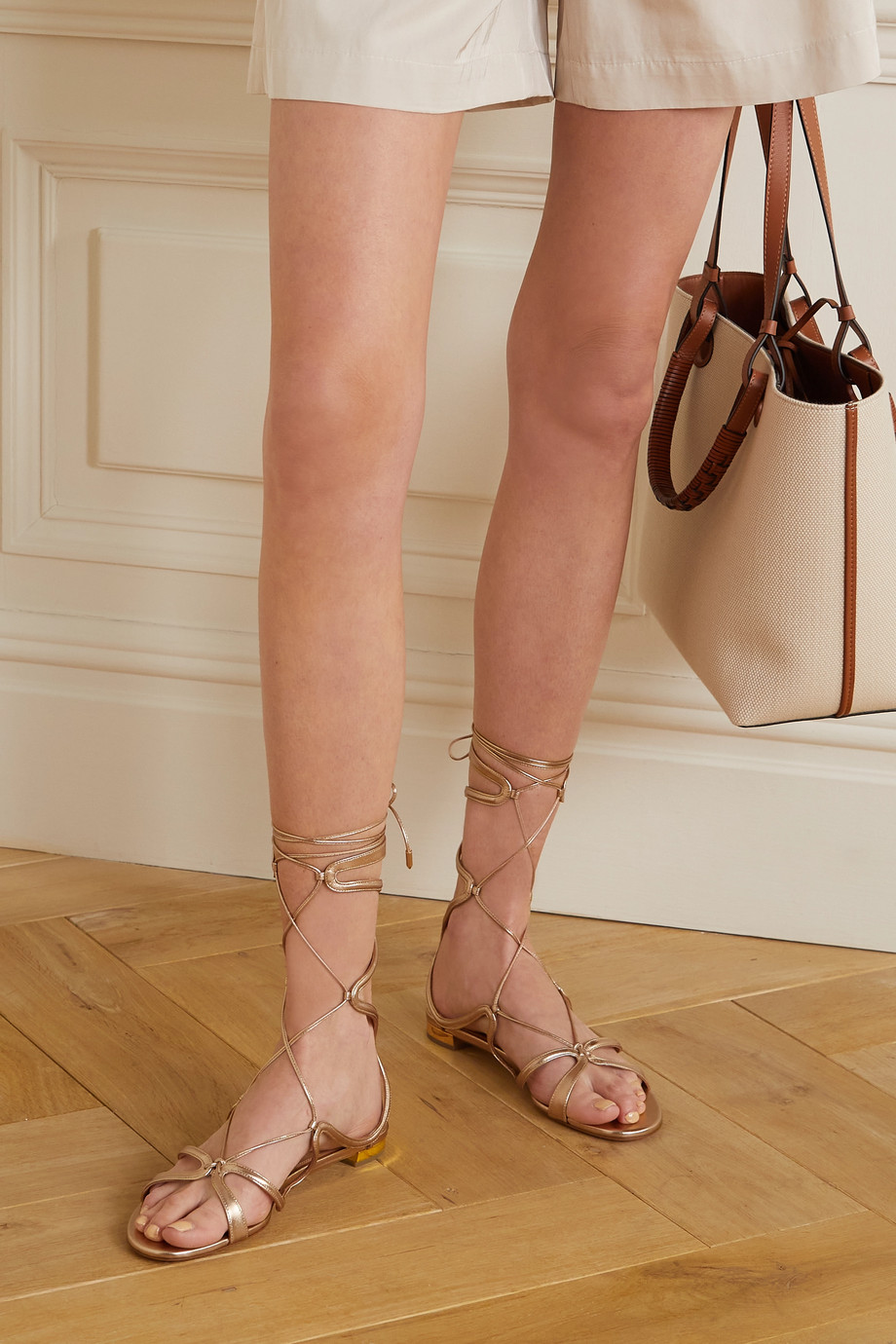 Aquazzura Pompei lace-up metallic leather sandals