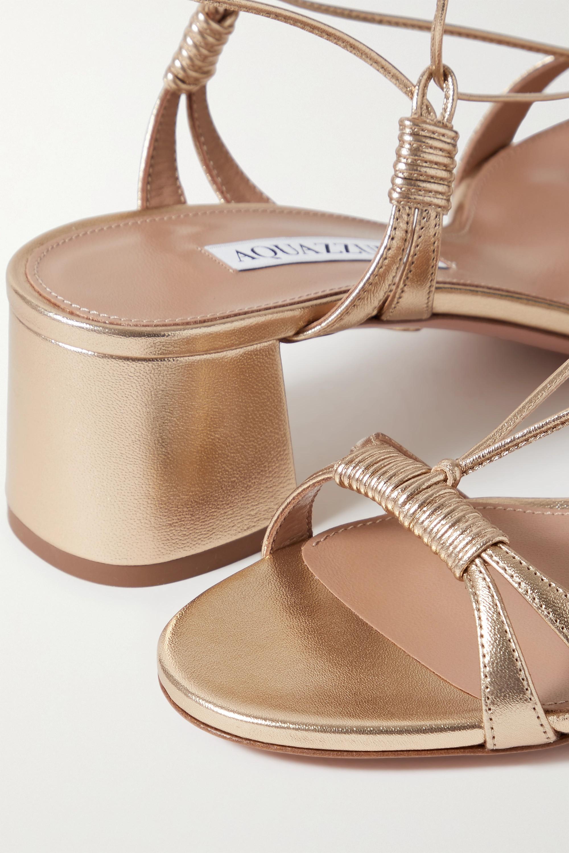 Aquazzura Sole 50 Sandalen aus Metallic-Leder