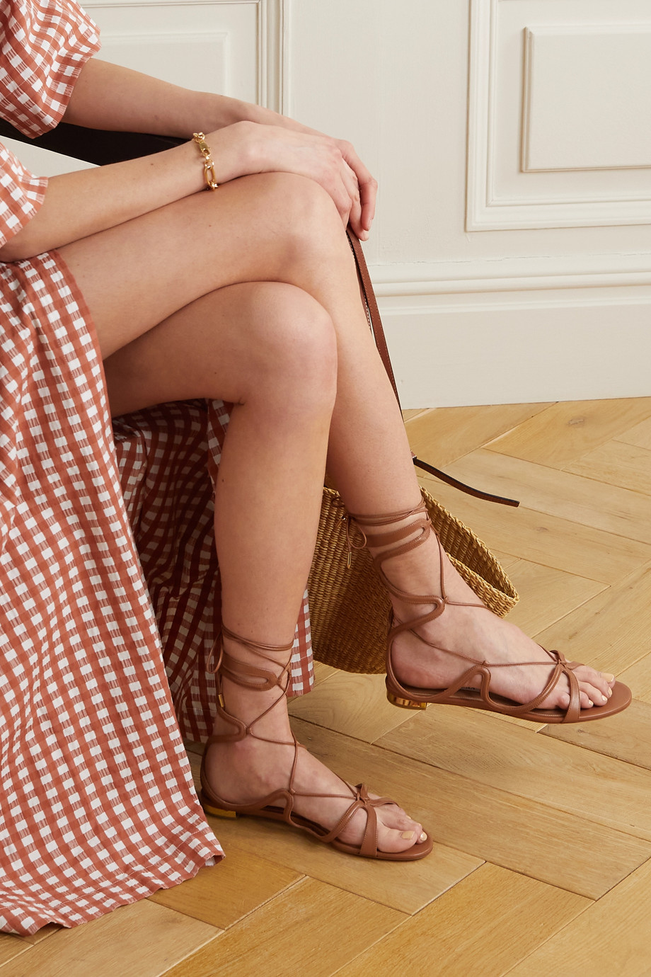 Aquazzura Pompei lace-up leather sandals