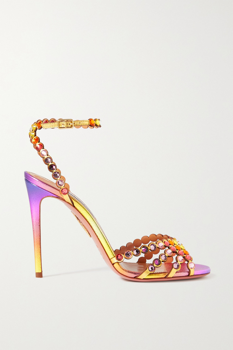 Aquazzura Tequila 105 crystal-embellished metallic leather sandals
