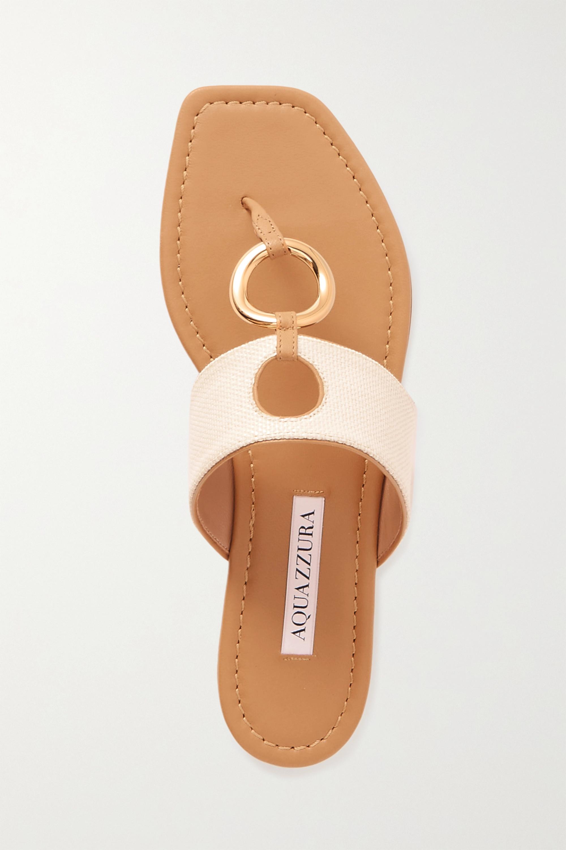 Aquazzura Ring Sandalen aus Canvas und Leder mit Cut-out und Verzierung