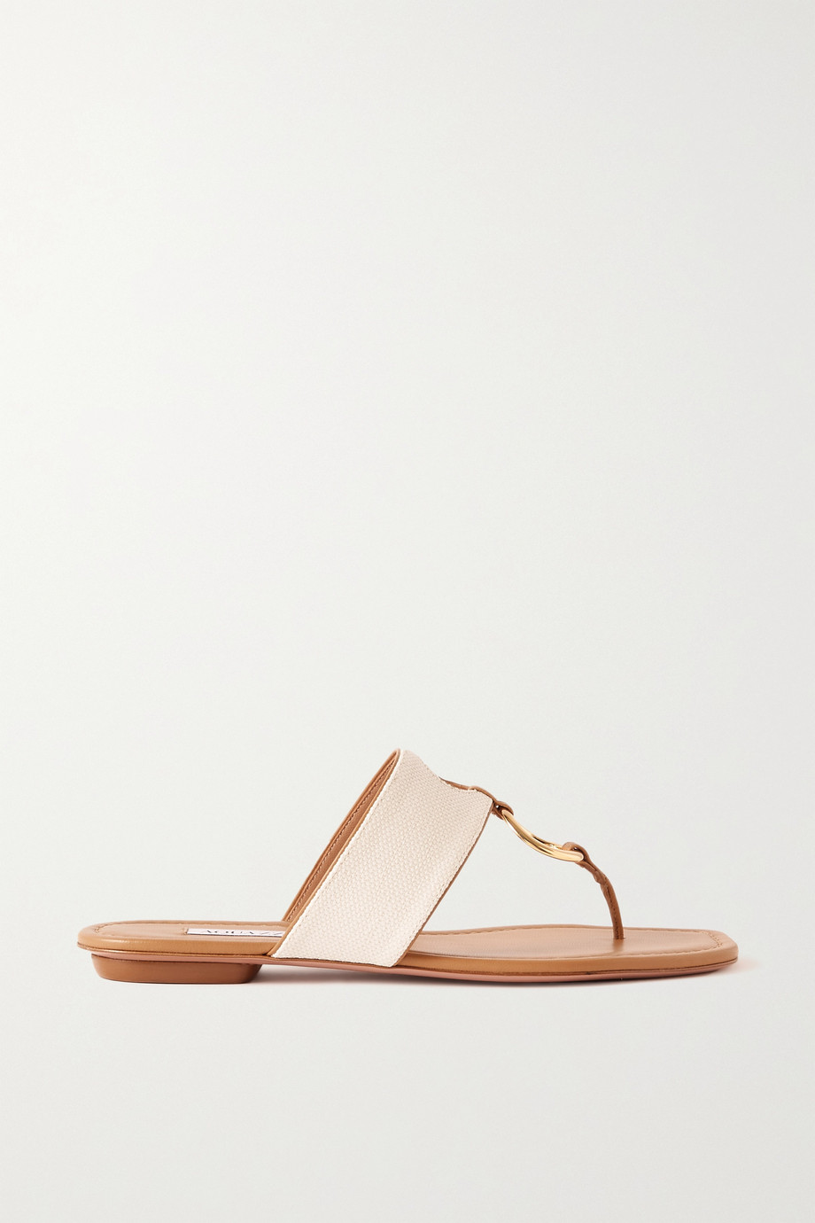Aquazzura Ring embellished cutout canvas and leathers sandals