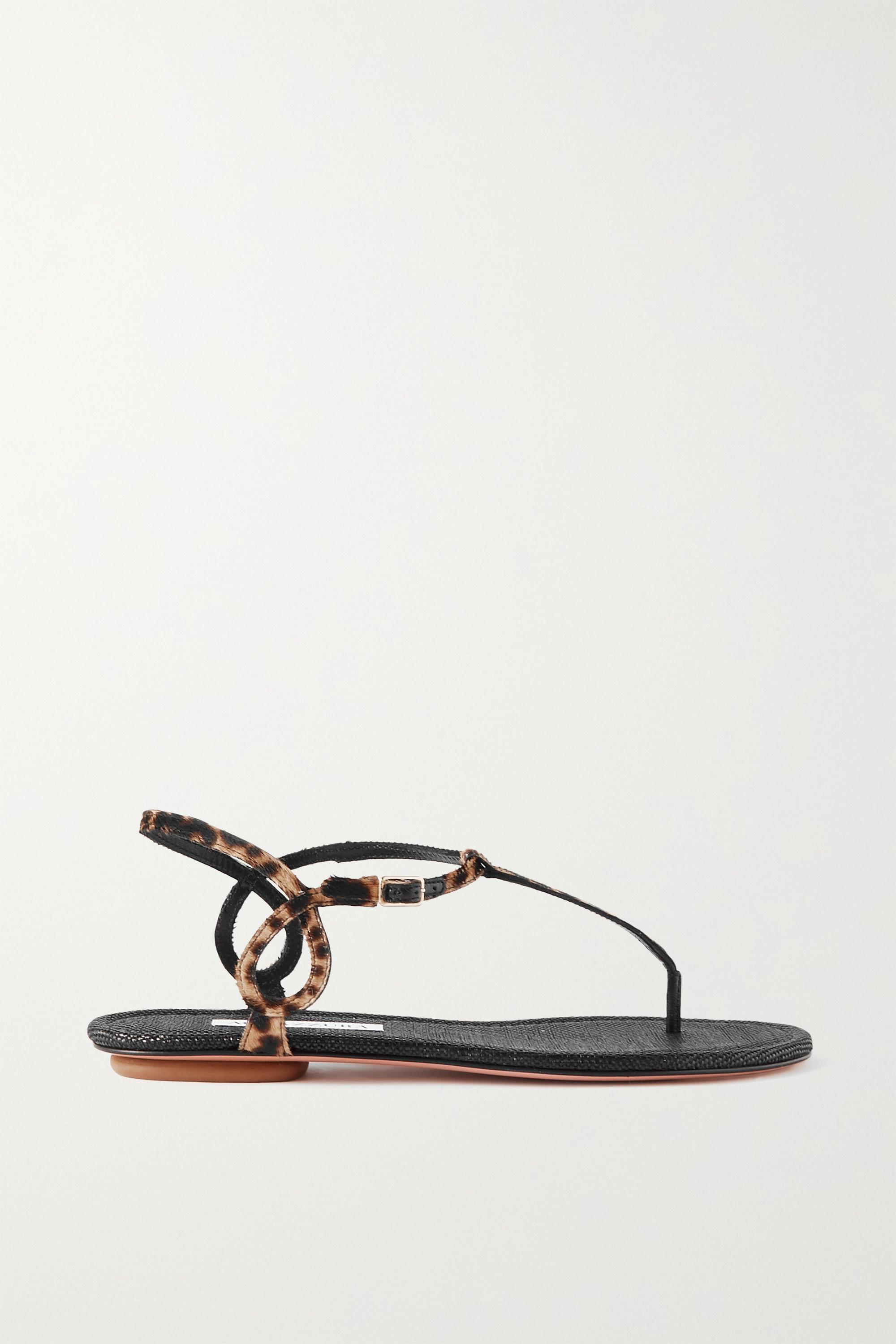 Aquazzura Almost Bare leopard-print calf hair sandals