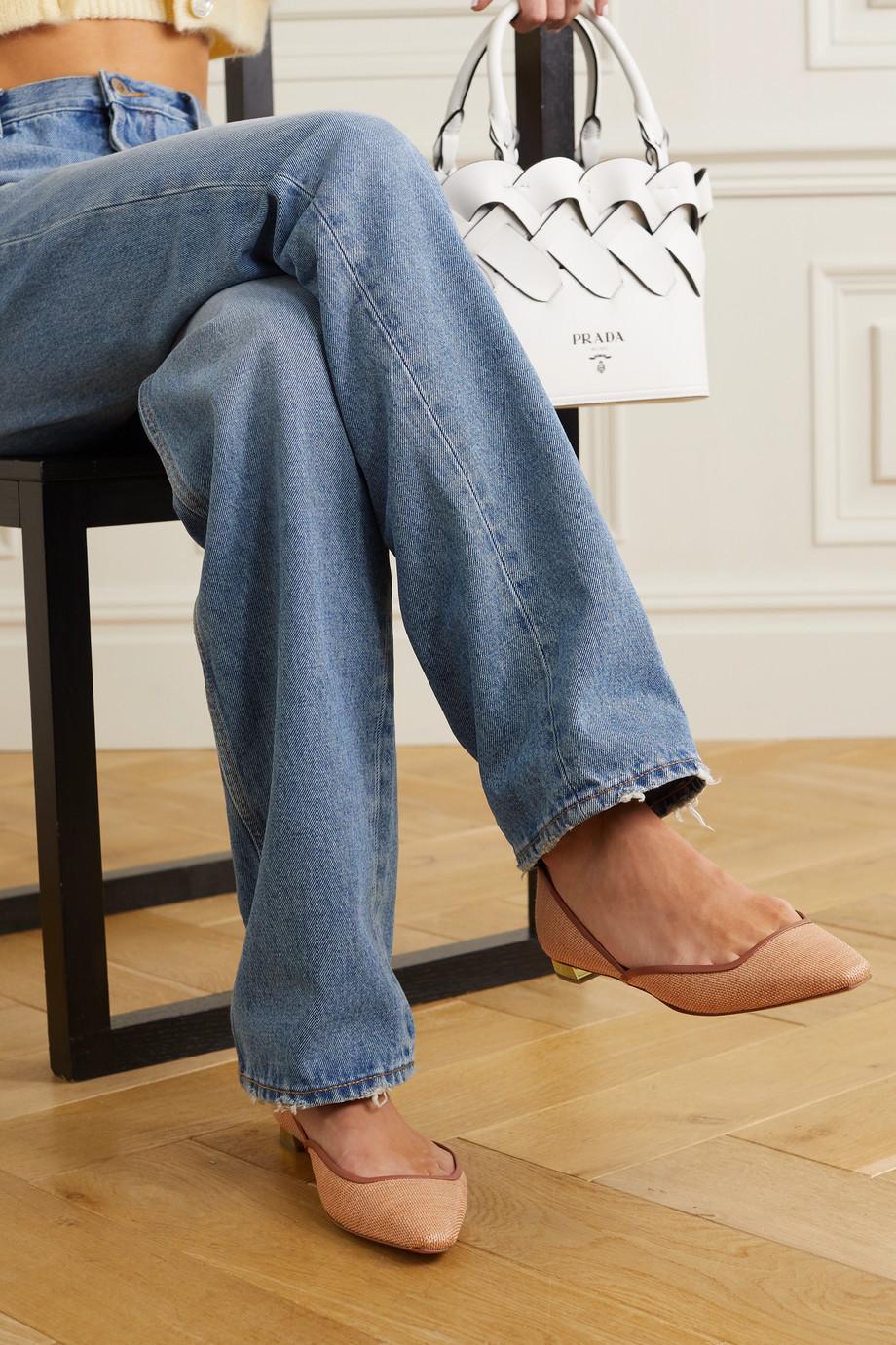 Aquazzura Maia leather-trimmed raffia ballet flats